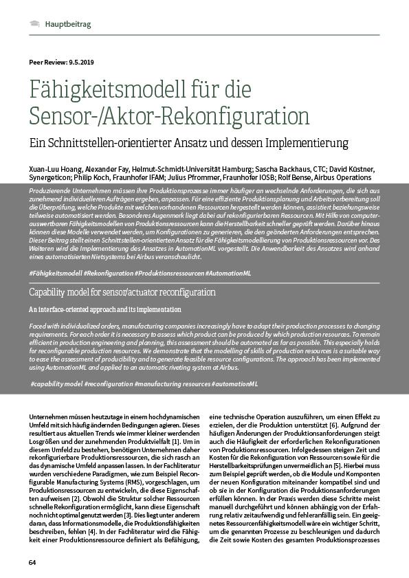 Fähigkeitsmodell für die Sensor-/Aktor-Rekonfiguration