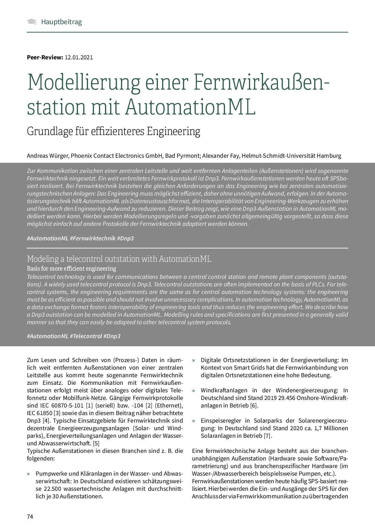 Modellierung einer Fernwirkaußenstation mit AutomationML