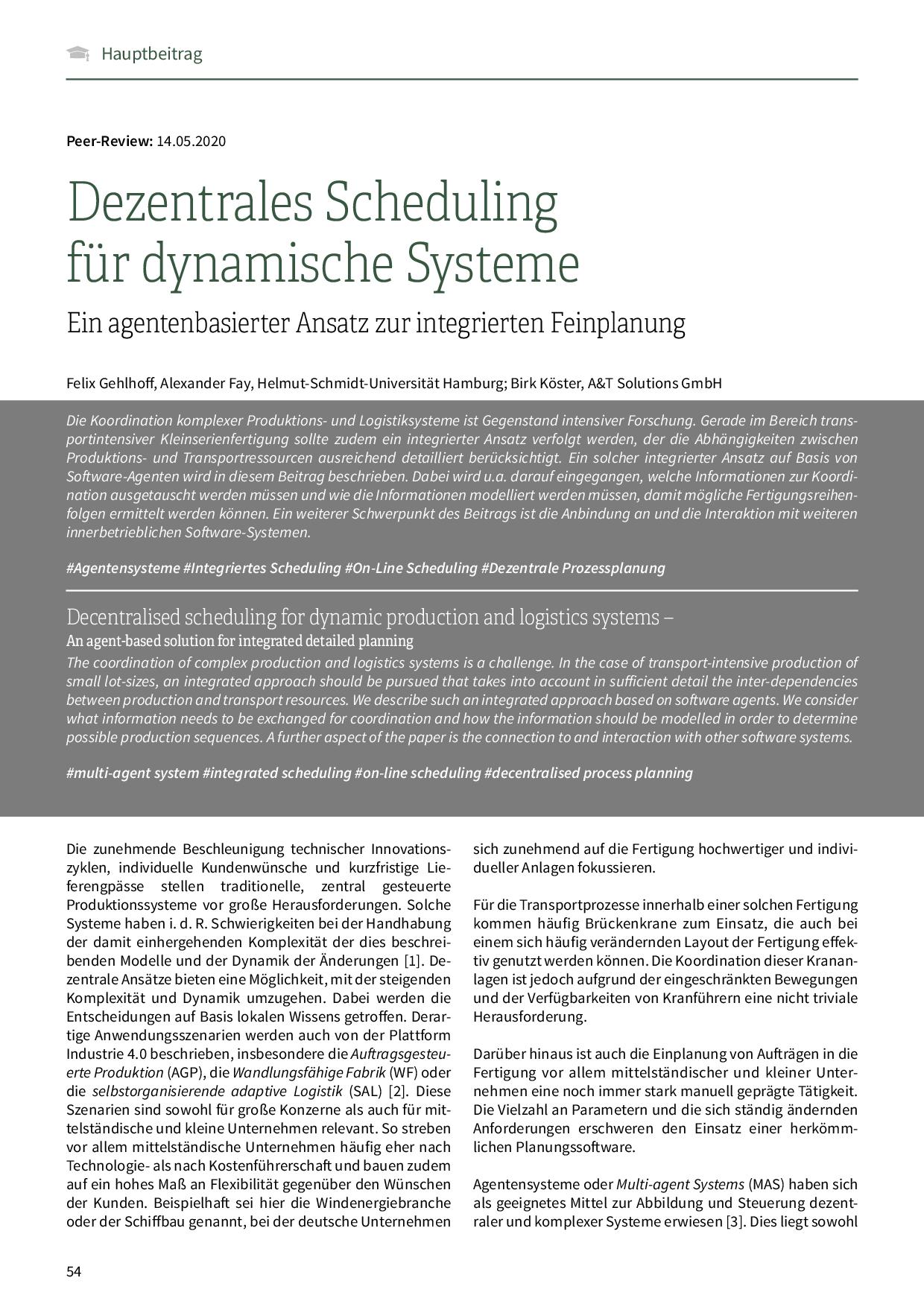 Dezentrales Scheduling für dynamische Systeme