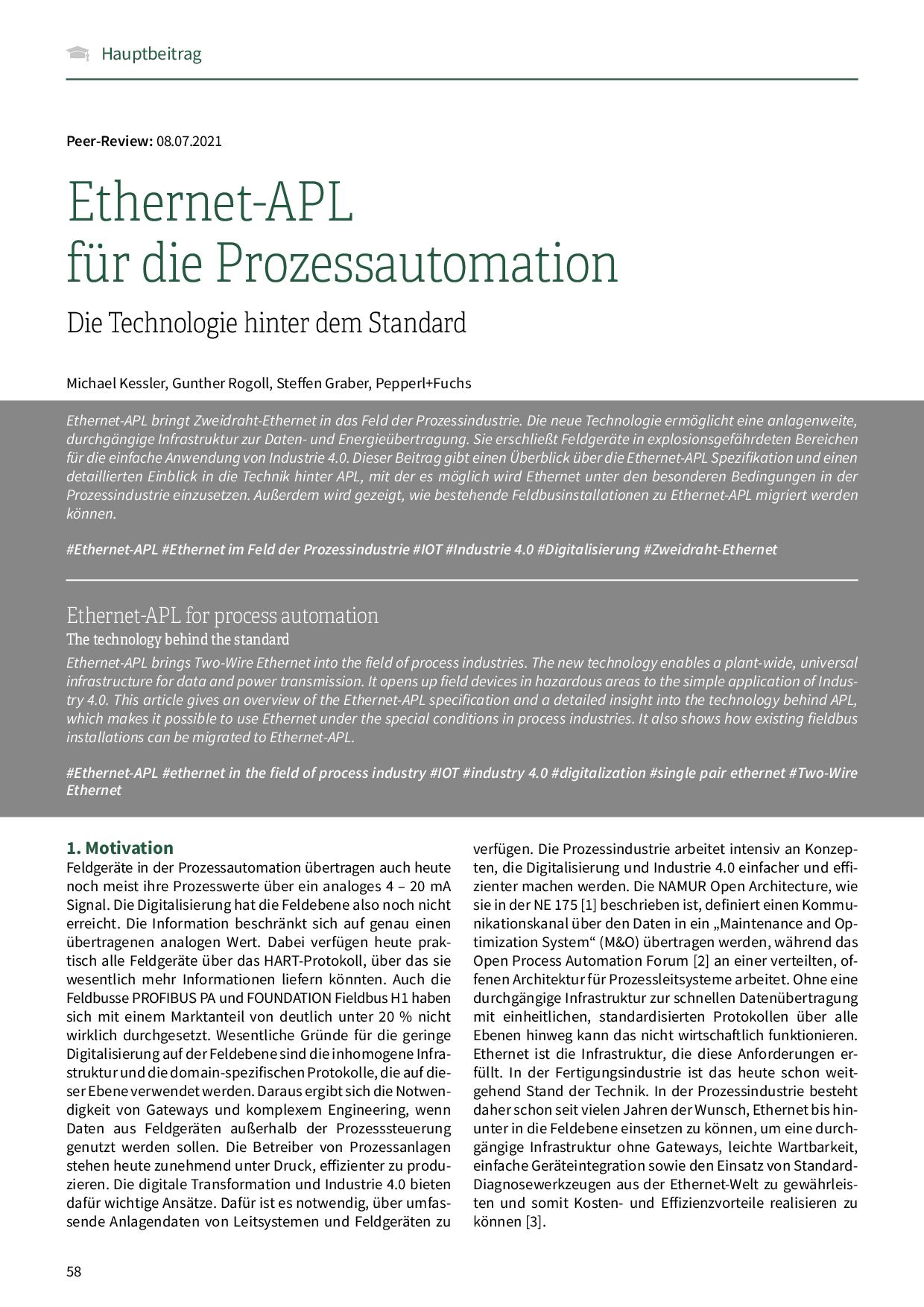 Ethernet-APL für die Prozessautomation
