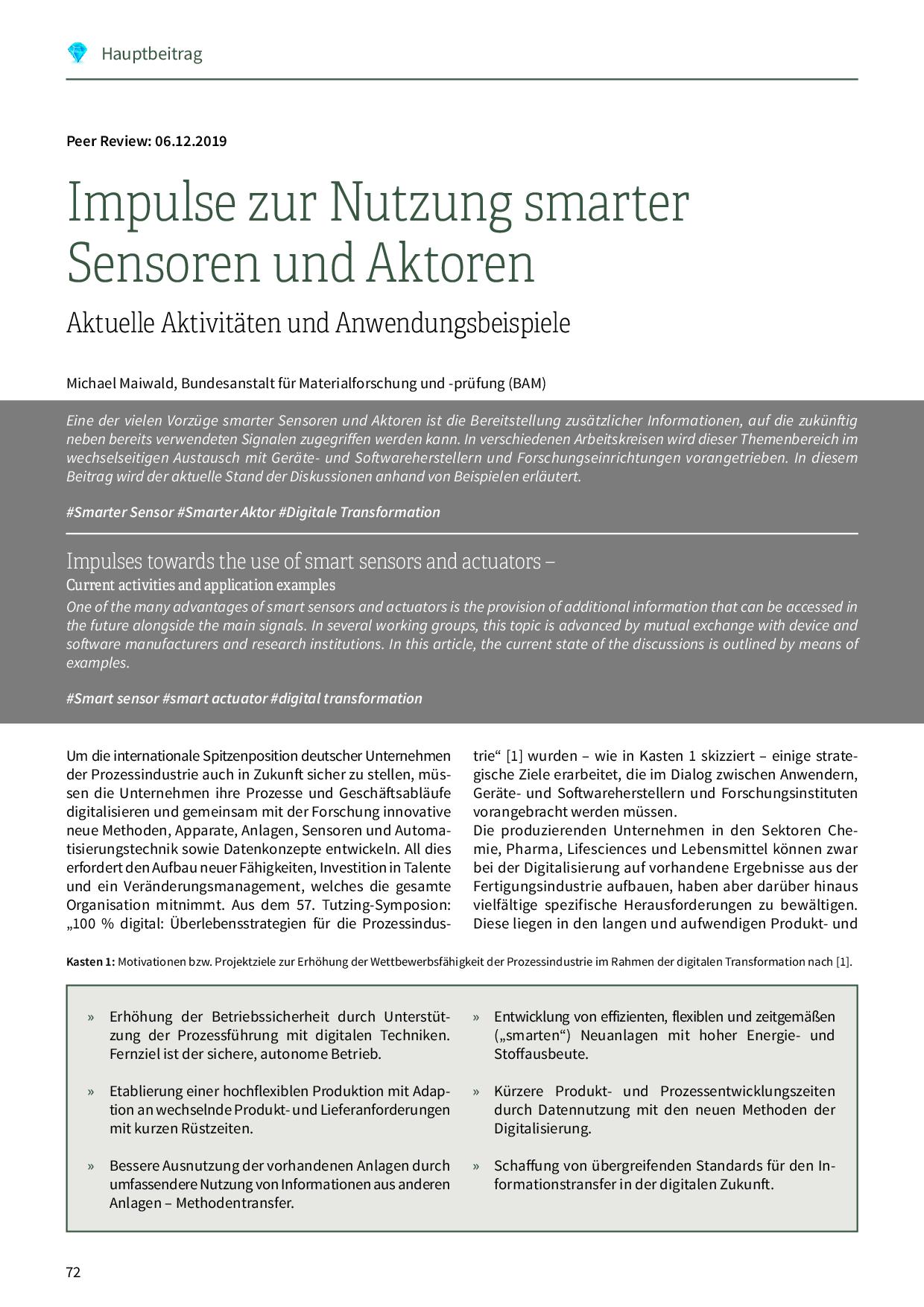 Impulse zur Nutzung smarter Sensoren und Aktoren