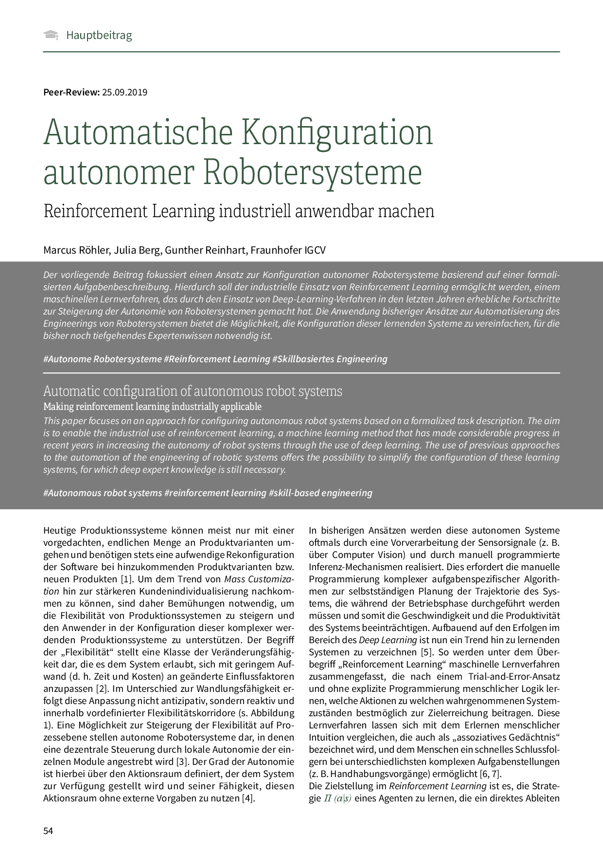 Automatische Konfiguration autonomer Robotersysteme