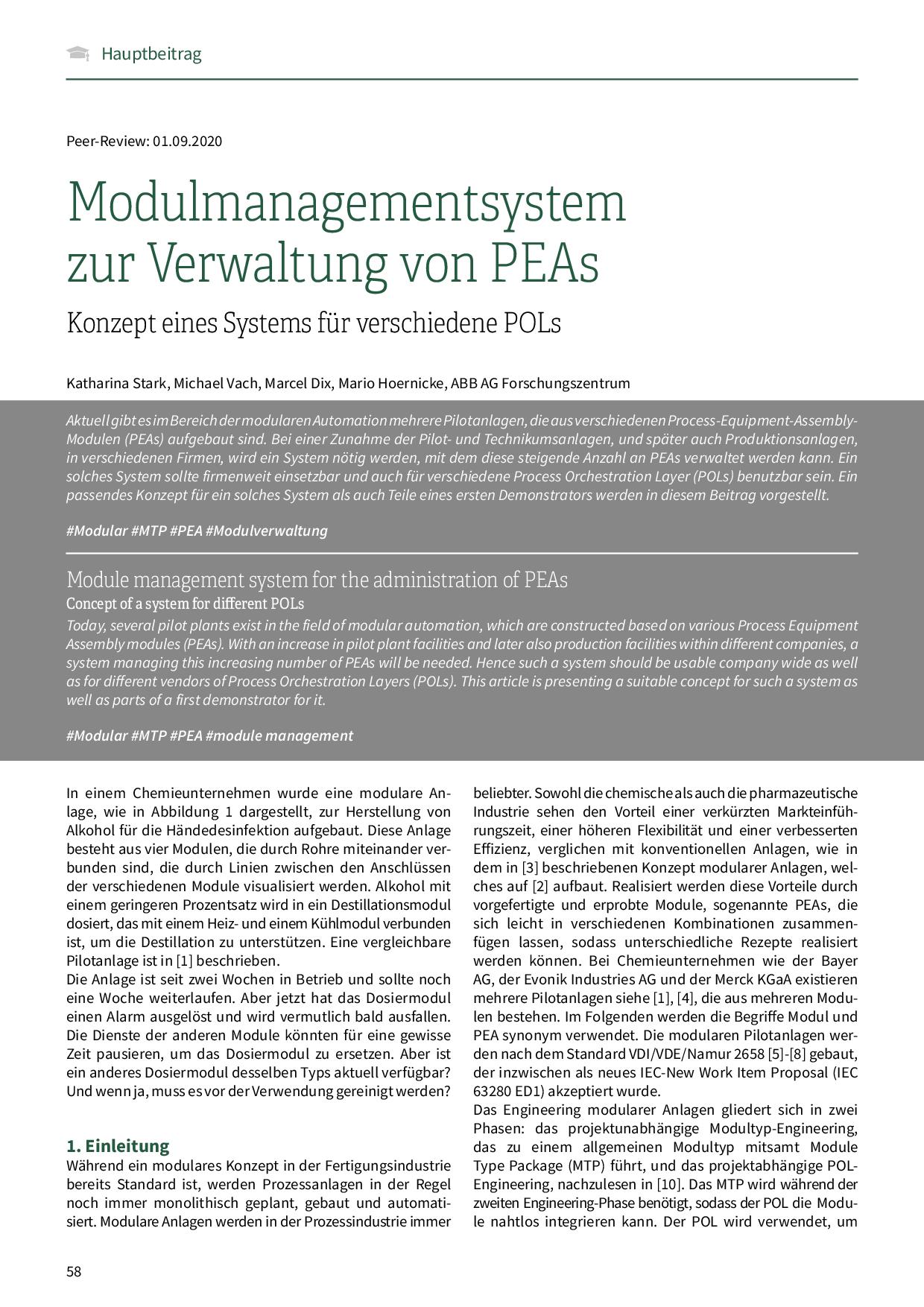 Modulmanagementsystem zur Verwaltung von PEAs