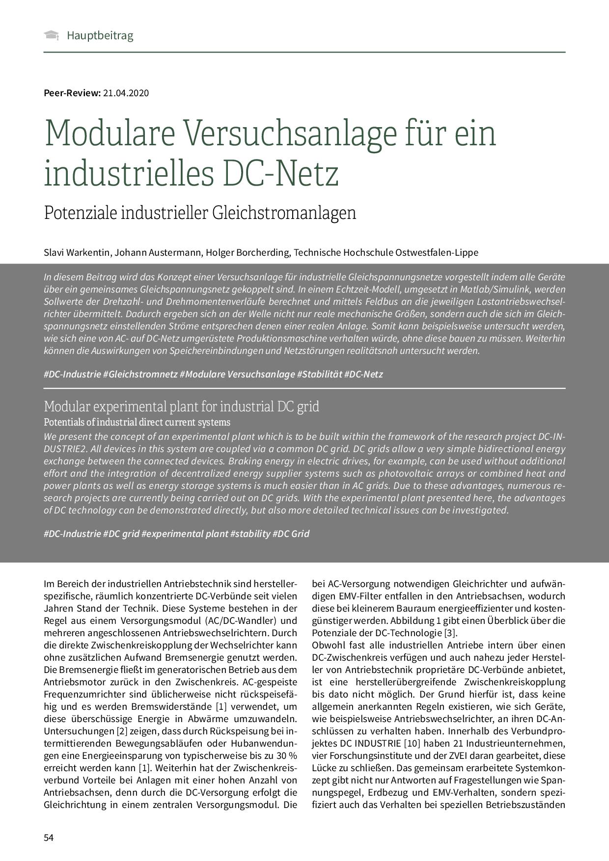 Modulare Versuchsanlage für ein industrielles DC-Netz