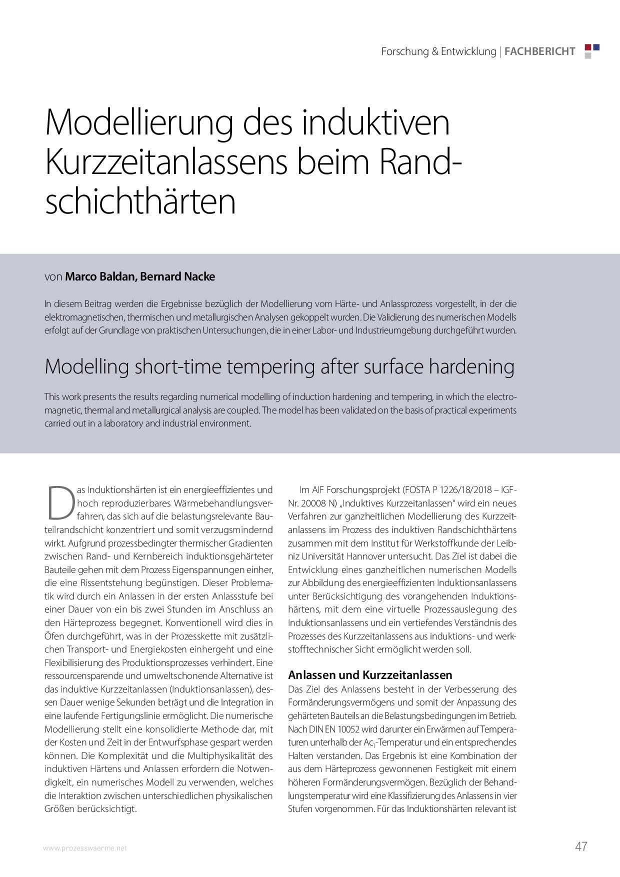 Modellierung des induktiven Kurzzeitanlassens beim Randschichthärten