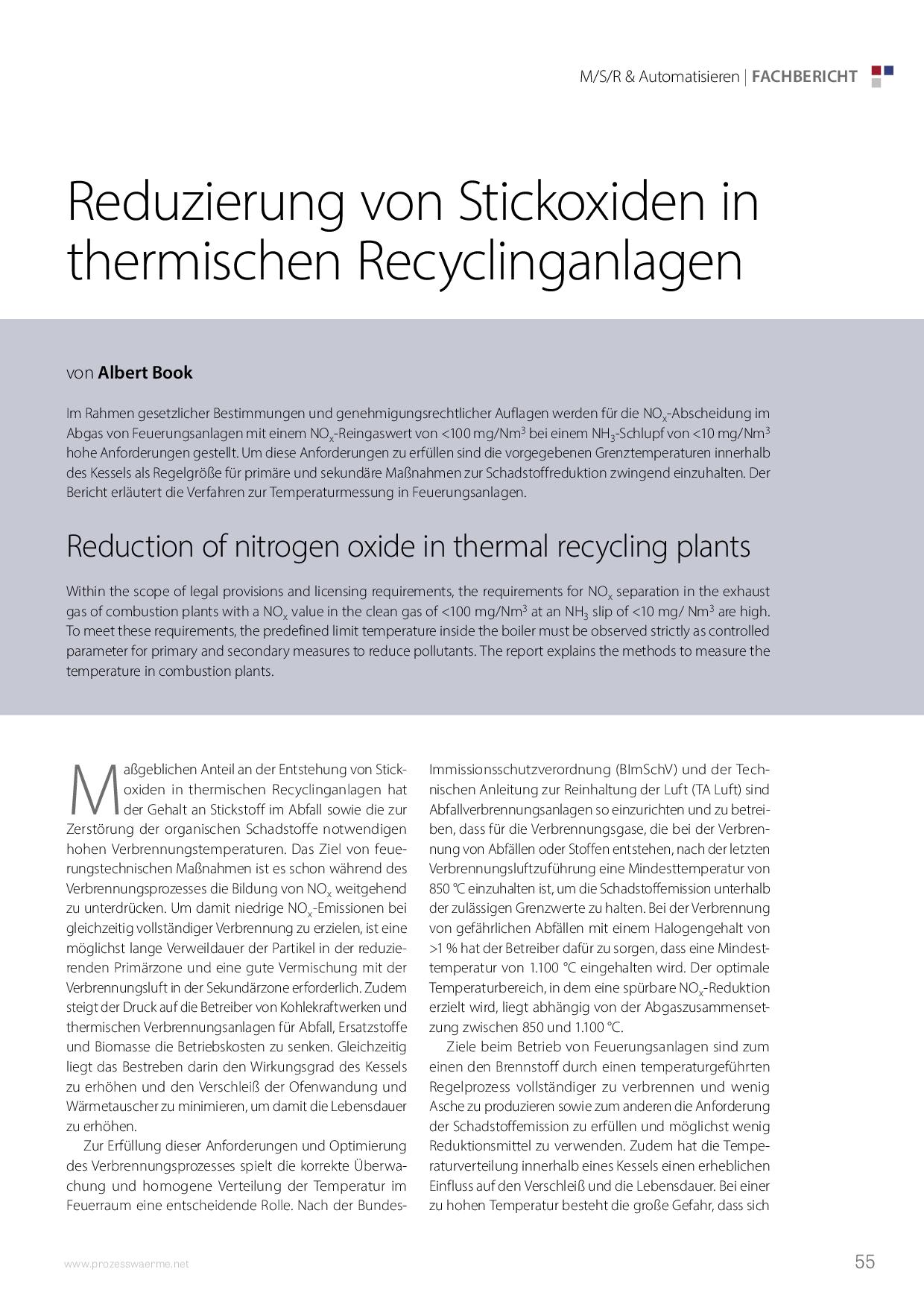 Reduzierung von Stickoxiden in thermischen Recyclinganlagen