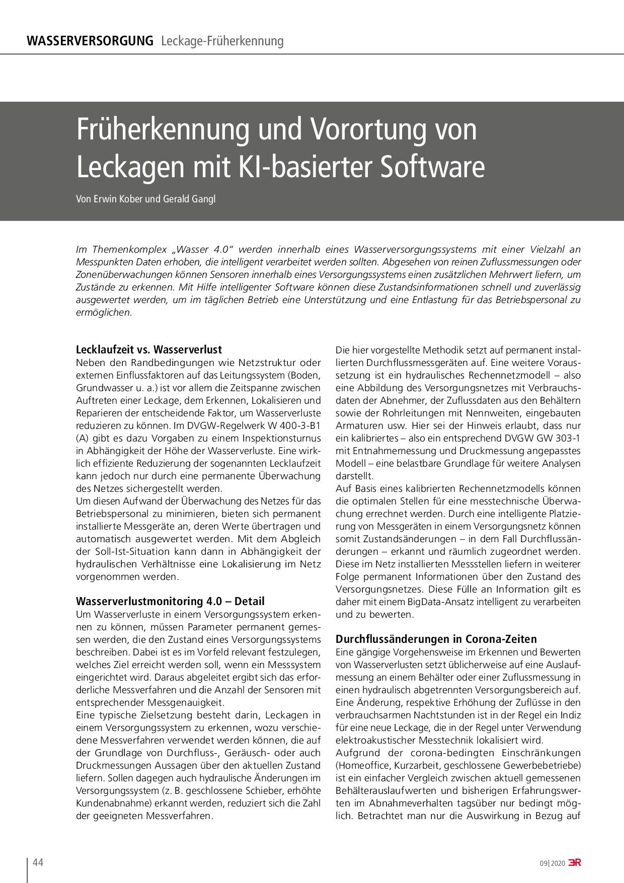 Früherkennung und Vorortung von Leckagen mit KI-basierter Software