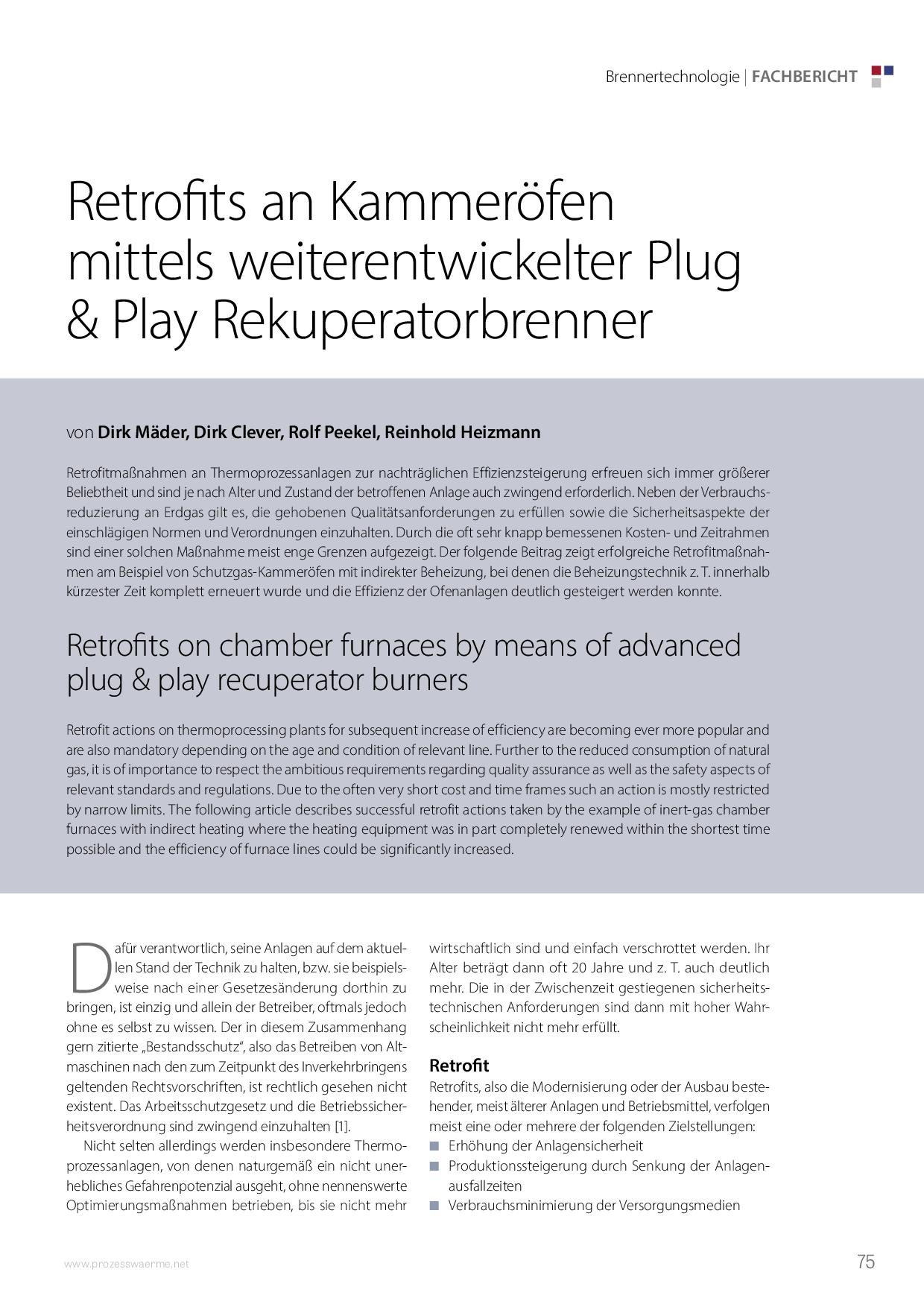 Retrofits an Kammeröfen mittels weiterentwickelter Plug & Play Rekuperatorbrenner
