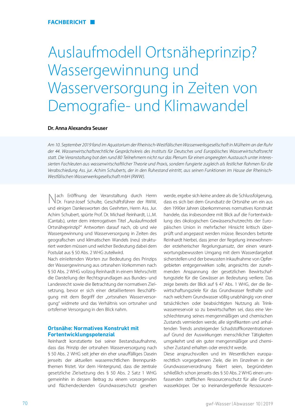 Auslaufmodell Ortsnäheprinzip? Wassergewinnung und Wasserversorgung in Zeiten von Demografie- und Klimawandel