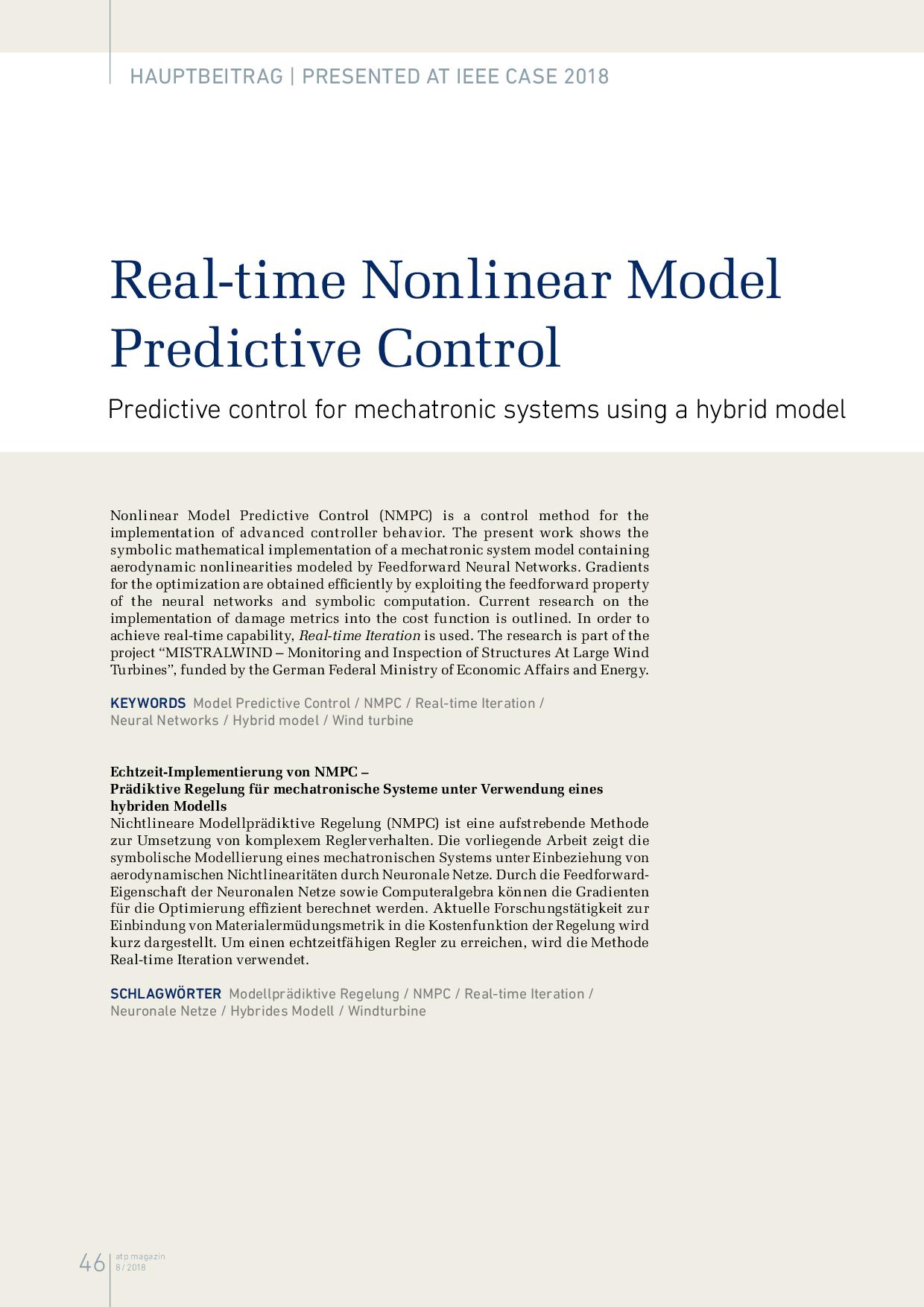 Real-time Nonlinear Model Predictive Control