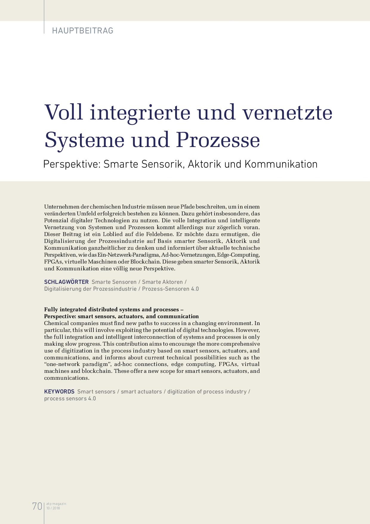 Voll integrierte und vernetzte Systeme und Prozesse
