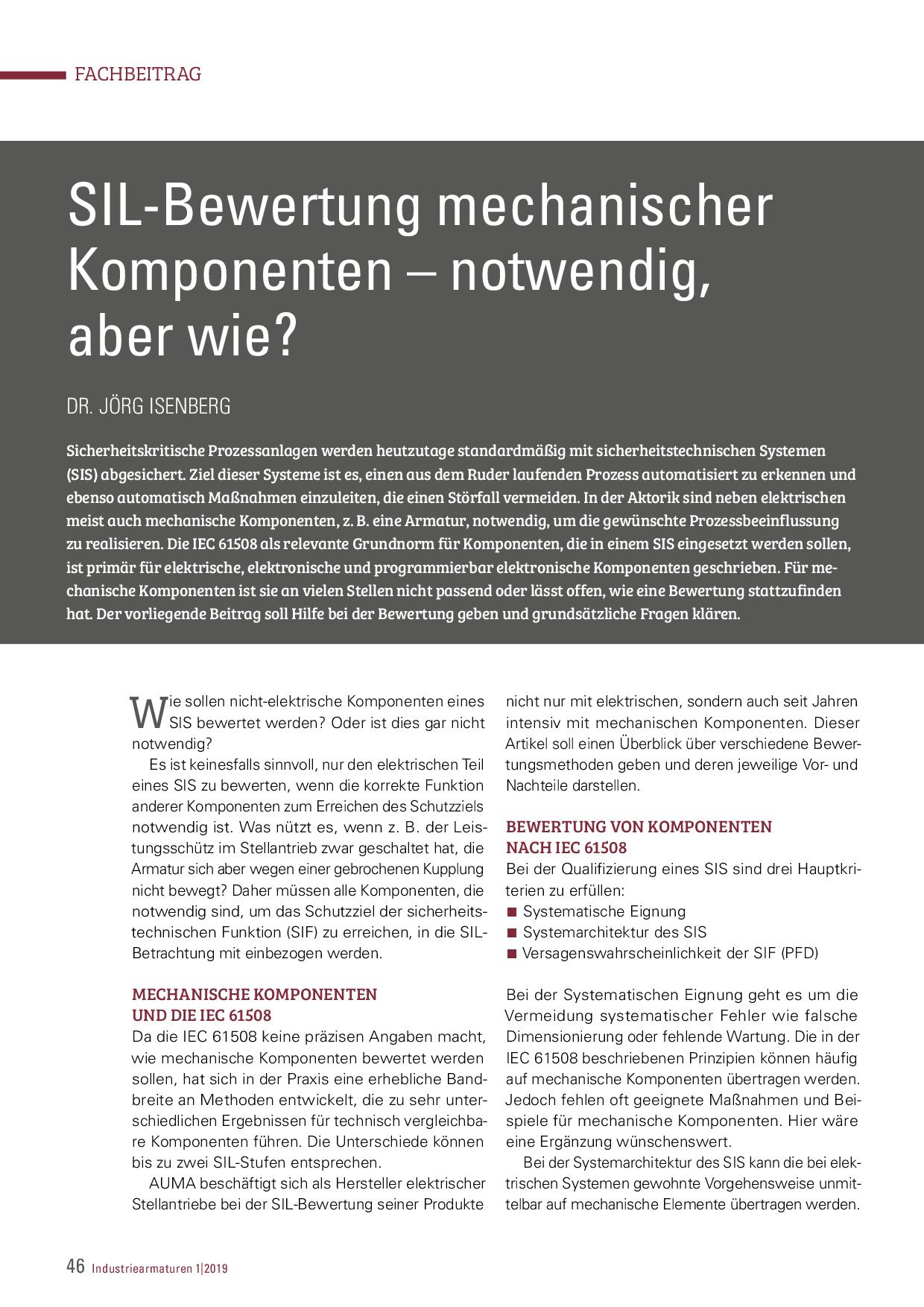 SIL-Bewertung mechanischer Komponenten – notwendig, aber wie?