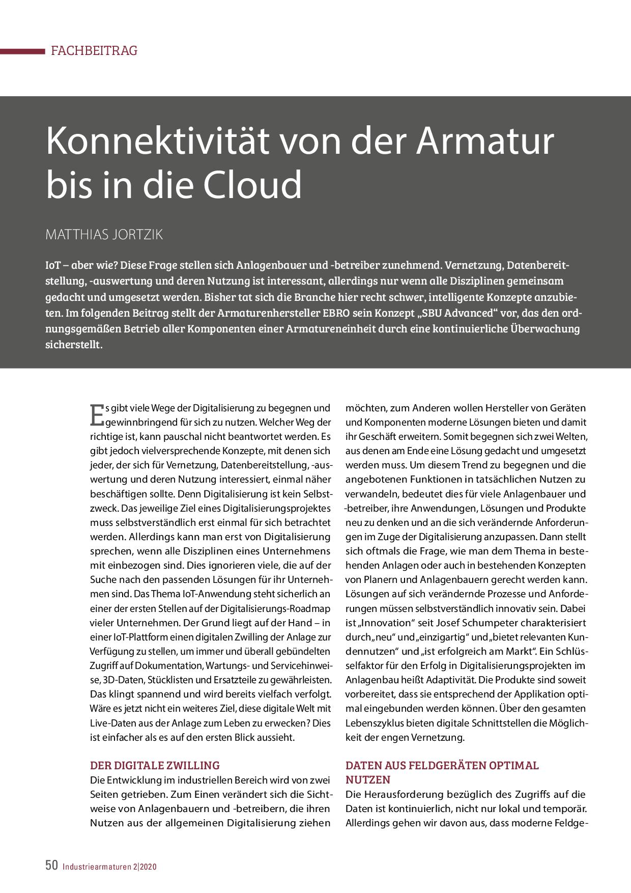 Konnektivität von der Armatur bis in die Cloud