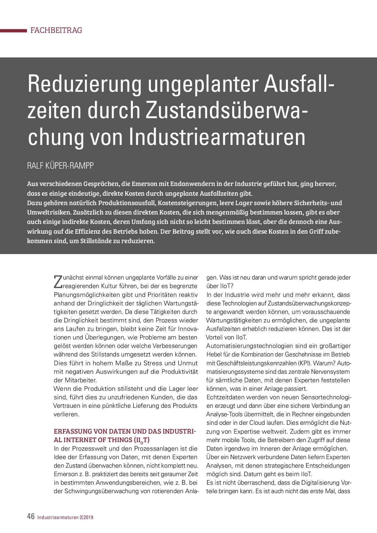 Reduzierung ungeplanter Ausfallzeiten durch Zustandsüberwachung von Industriearmaturen
