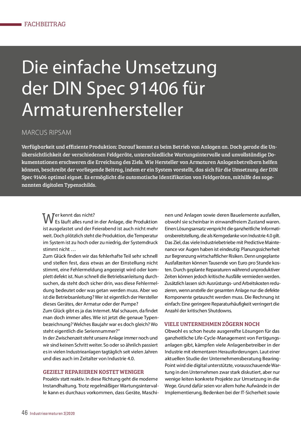 Die einfache Umsetzung der DIN Spec 91406 für Armaturenhersteller