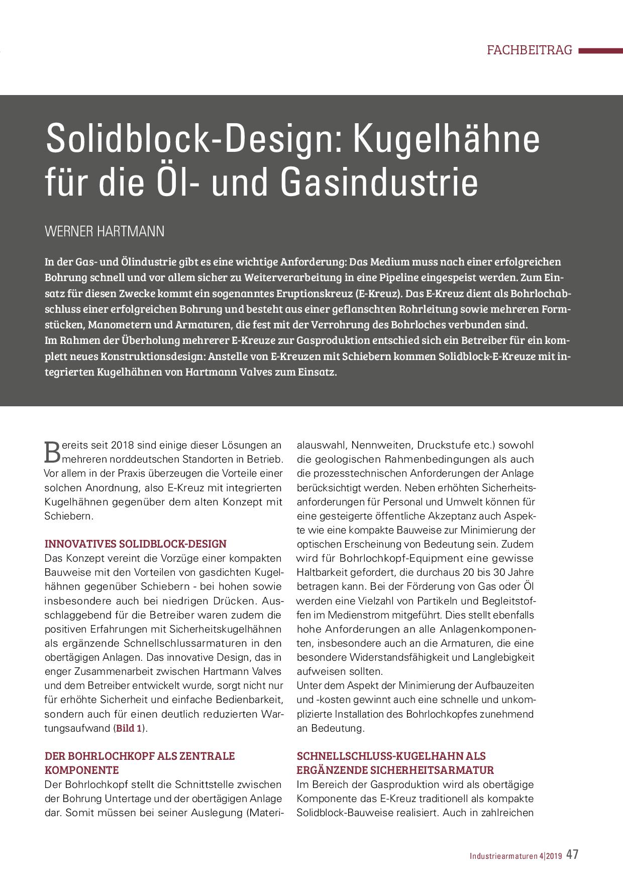Solidblock-Design: Kugelhähne für die Öl- und Gasindustrie