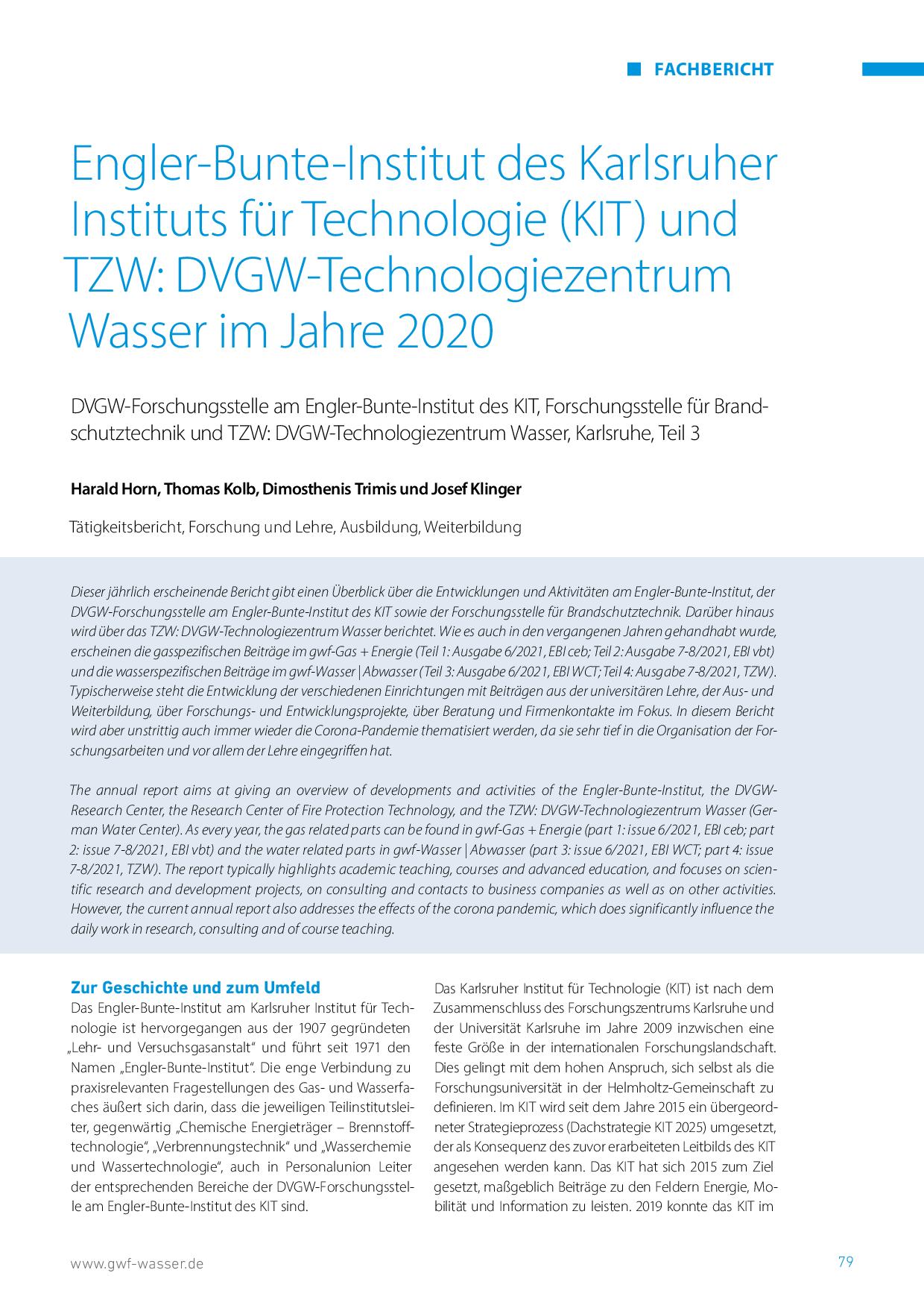Engler-Bunte-Institut des Karlsruher Instituts für Technologie (KIT) und TZW: DVGW-Technologiezentrum Wasser im Jahre 2020
