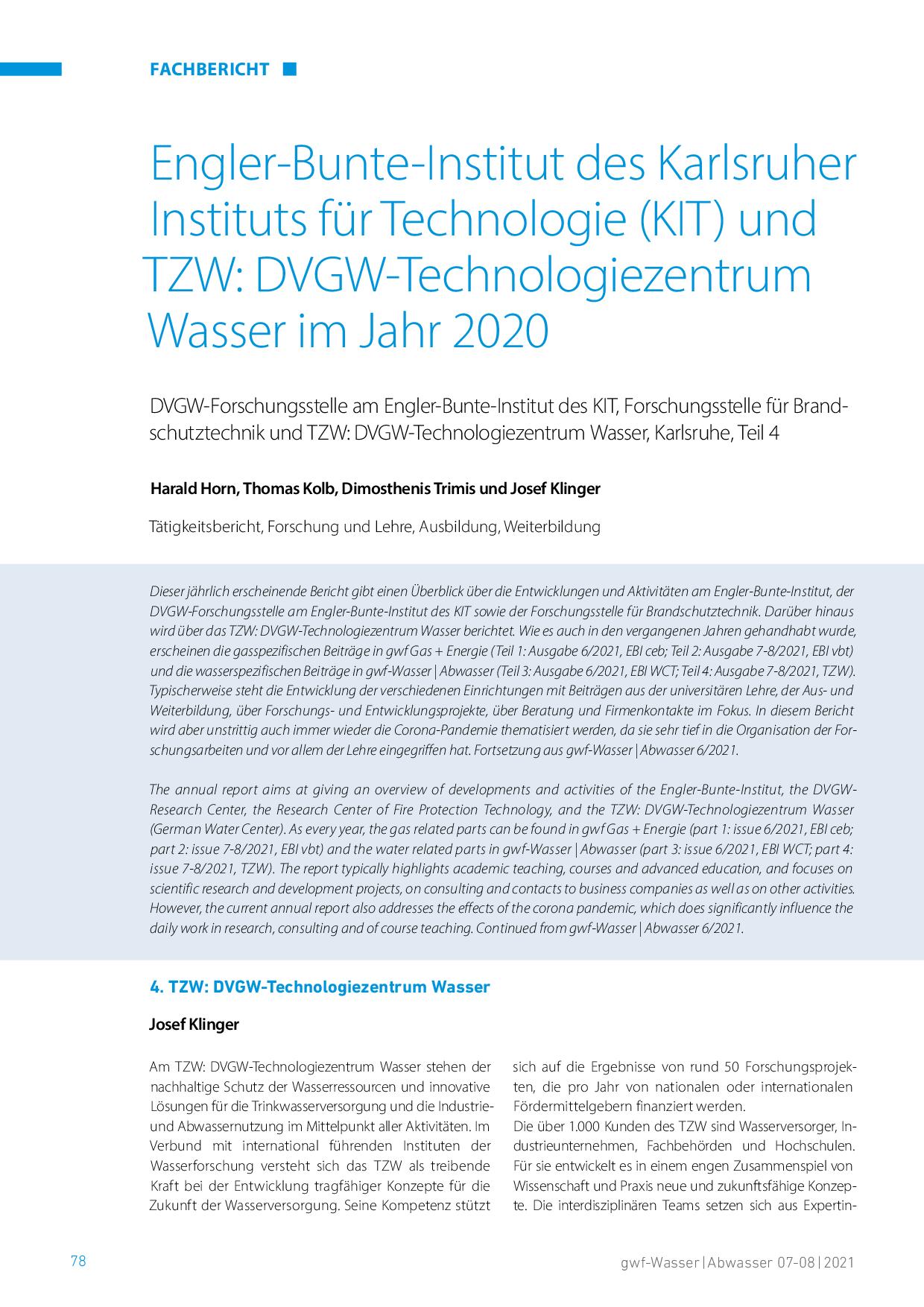 Engler-Bunte-Institut des Karlsruher Instituts für Technologie (KIT) und TZW: DVGW-Technologiezentrum Wasser im Jahr 2020