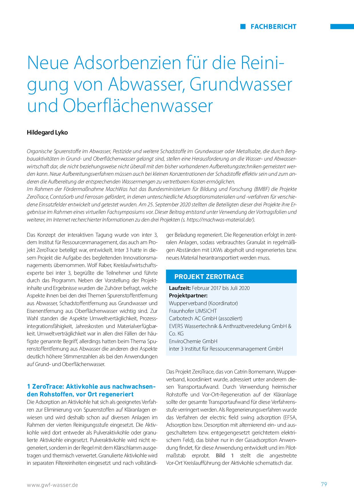 Neue Adsorbenzien für die Reinigung von Abwasser, Grundwasser und Oberflächenwasser