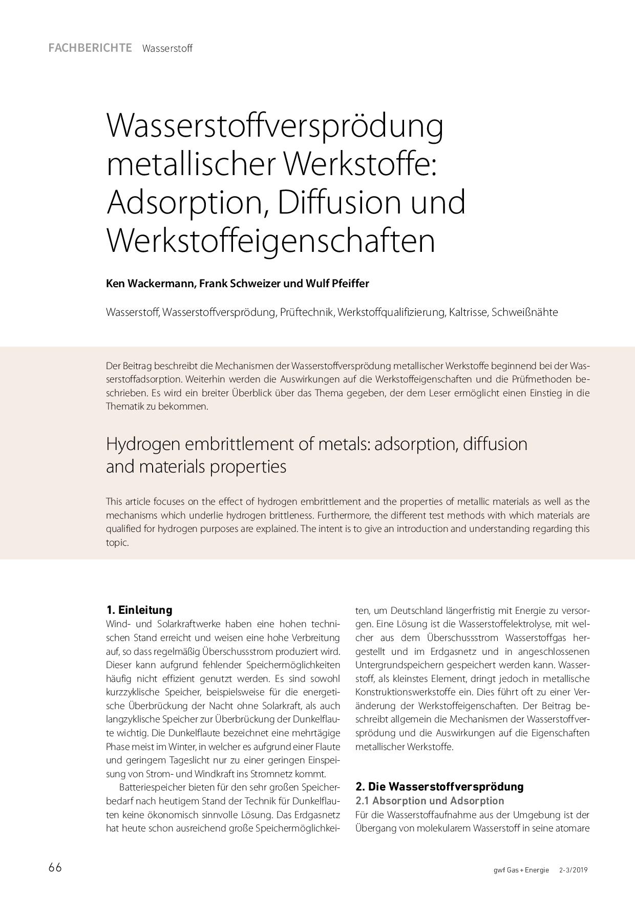 Wasserstoffversprödung metallischer Werkstoffe: Adsorption, Diffusion und Werkstoffeigenschaften