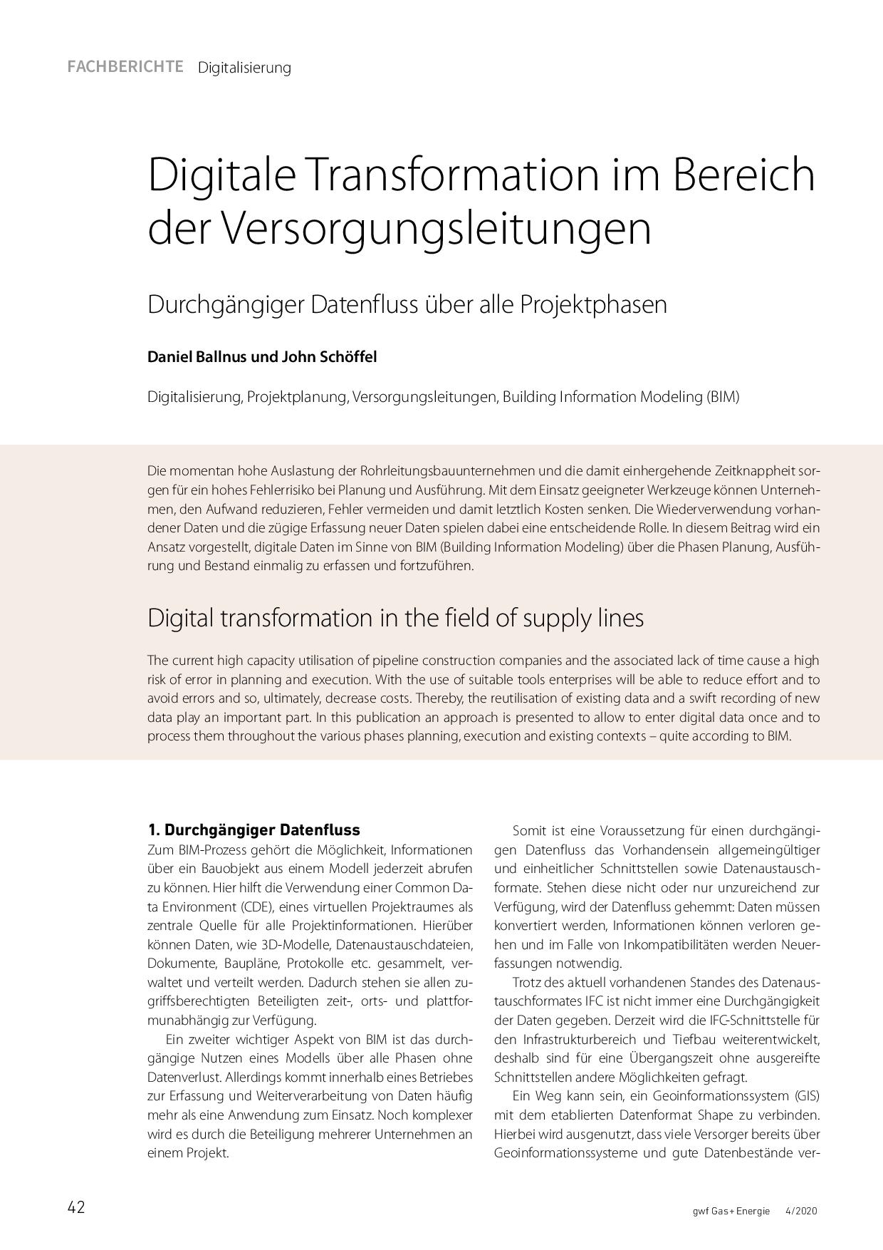Digitale Transformation im Bereich der Versorgungsleitungen