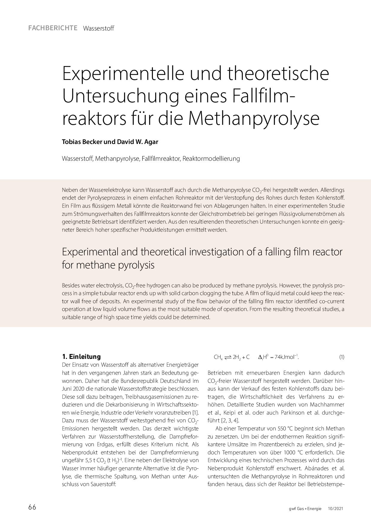 Experimentelle und theoretische Untersuchung eines Fallfilmreaktors für die Methanpyrolyse