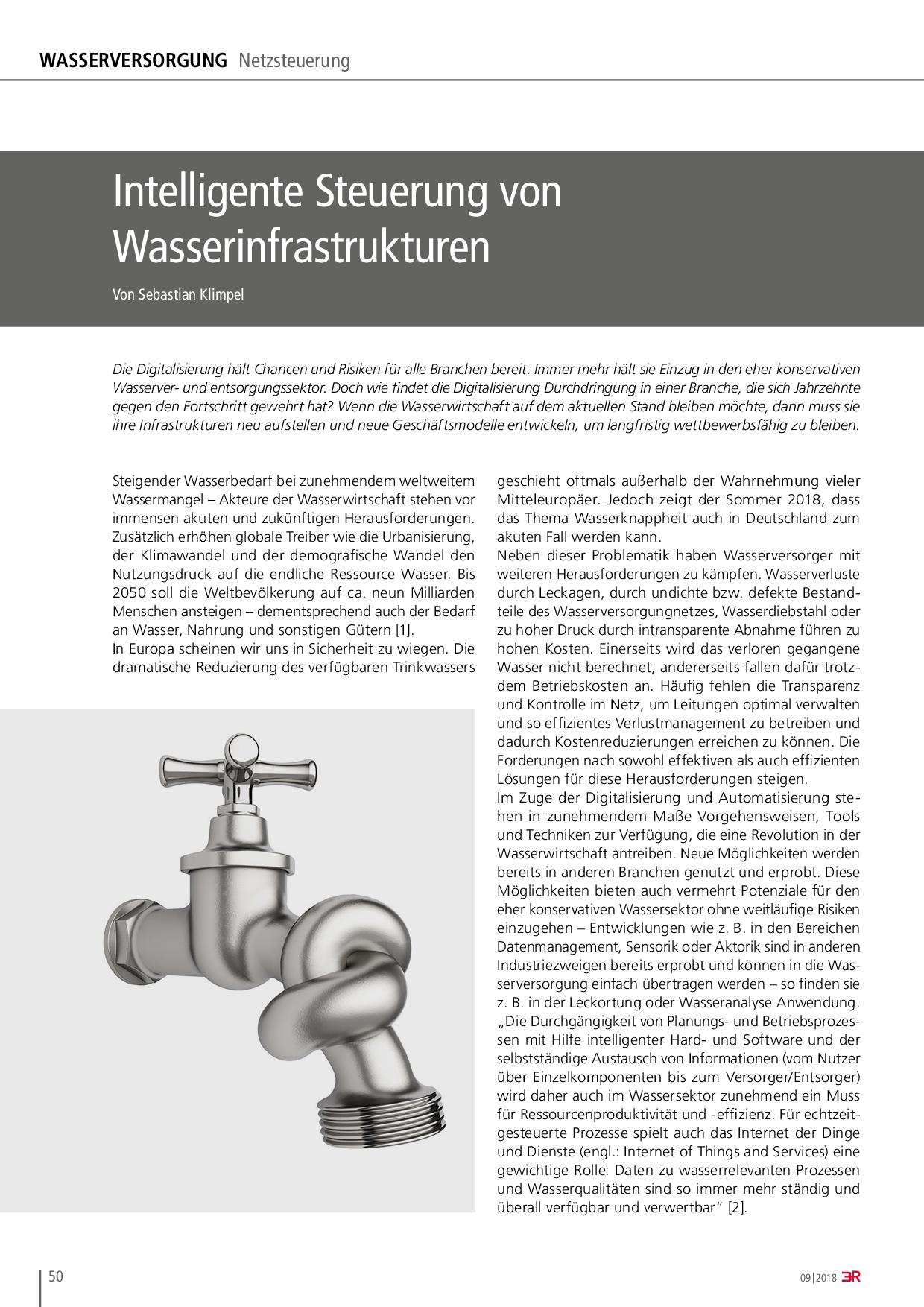 Intelligente Steuerung von Wasserinfrastrukturen