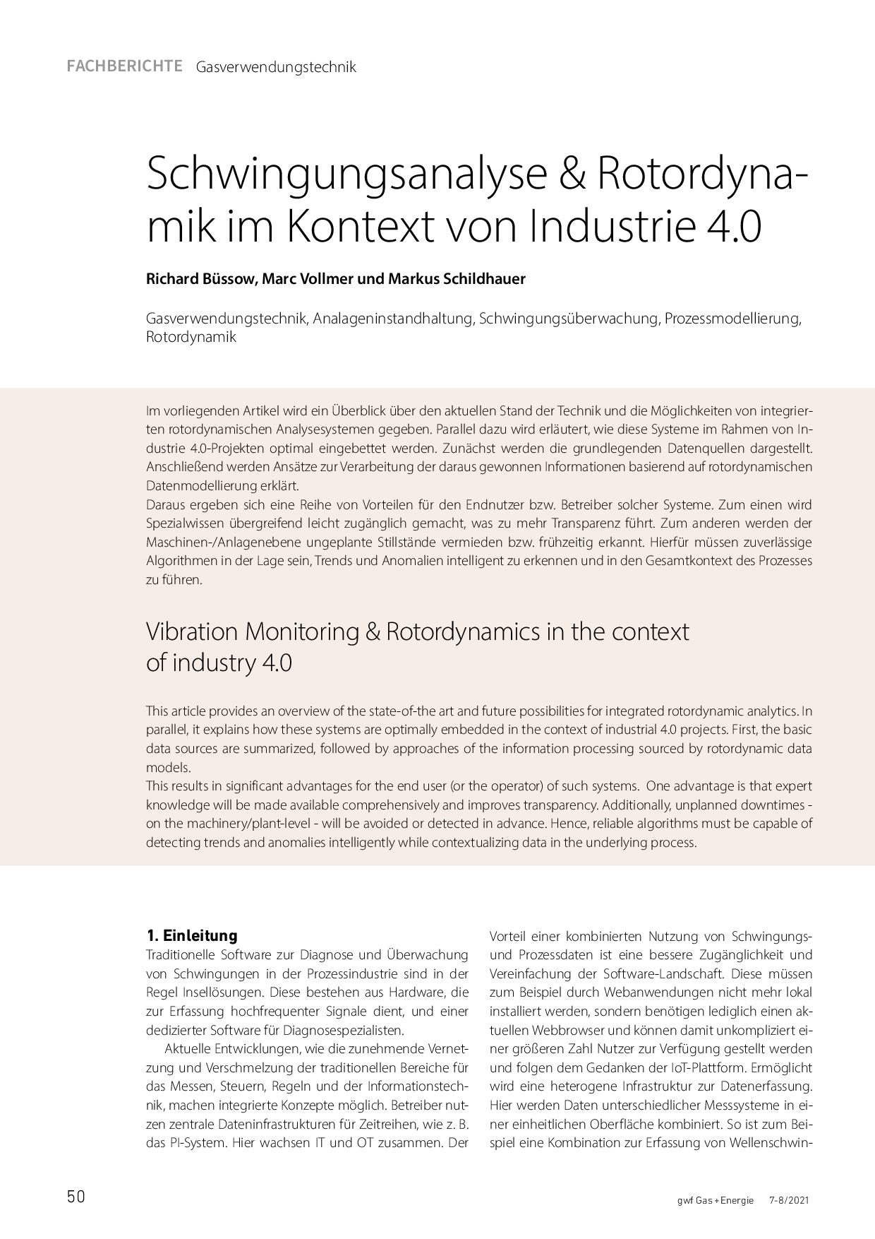 Schwingungsanalyse & Rotordynamik im Kontext von Industrie 4.0