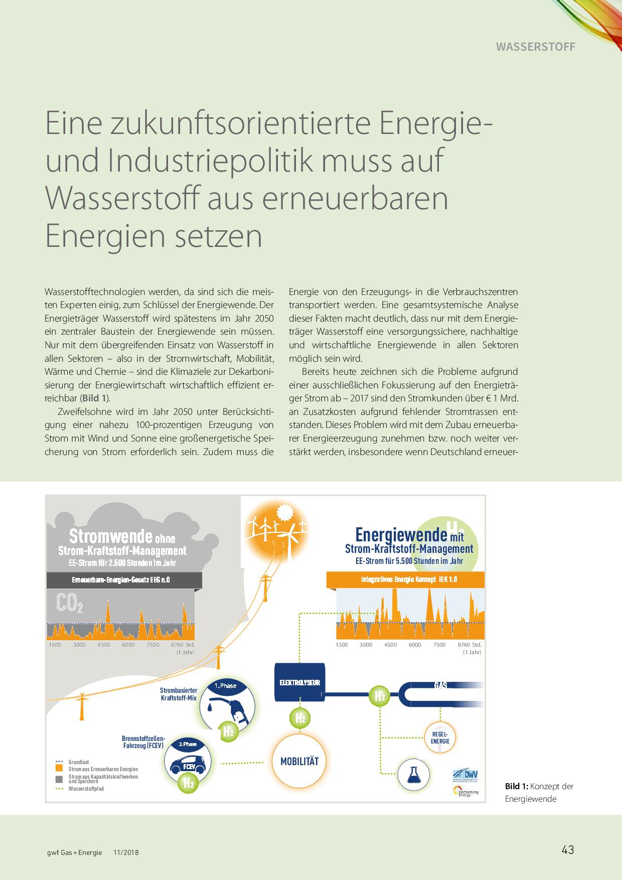 Eine zukunftsorientierte Energie- und Industriepolitik muss auf Wasserstoff aus erneuerbaren Energien setzen