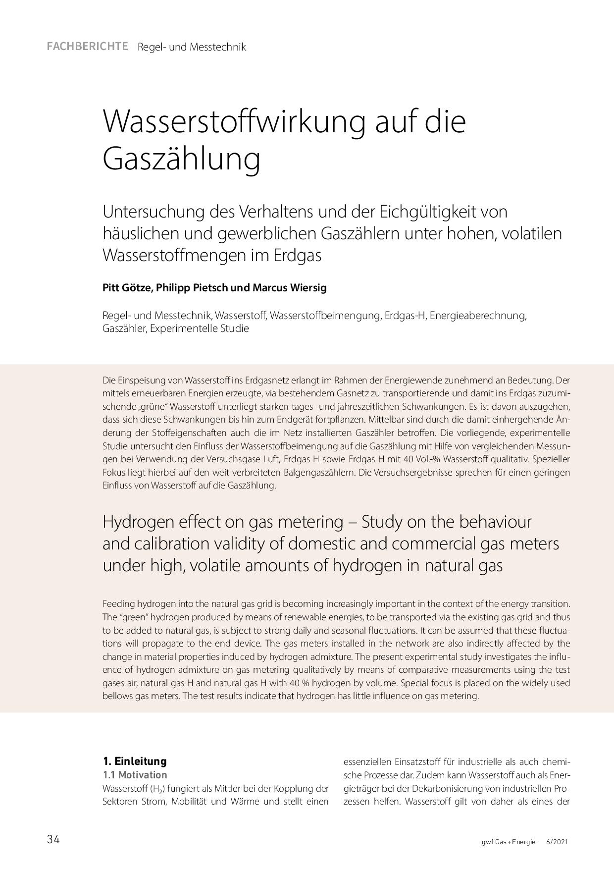Wasserstoffwirkung auf die Gaszählung