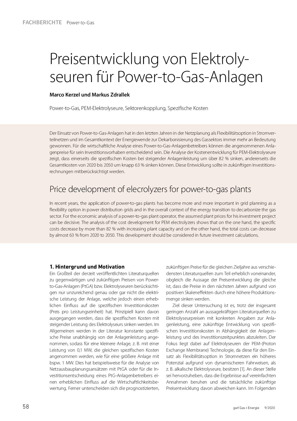 Preisentwicklung von Elektrolyseuren für Power-to-Gas-Anlagen