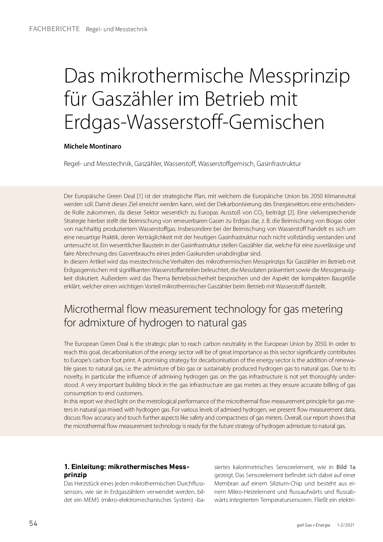 Das mikrothermische Messprinzip für Gaszähler im Betrieb mit Erdgas-Wasserstoff-Gemischen