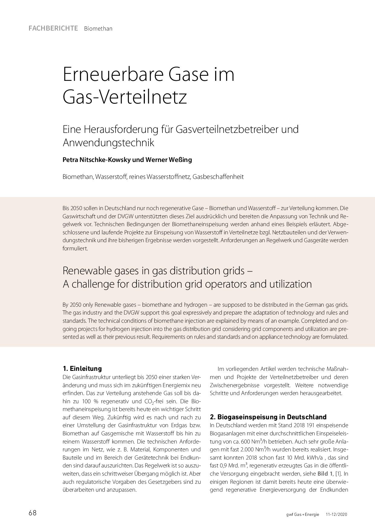 Erneuerbare Gase im Gas-Verteilnetz