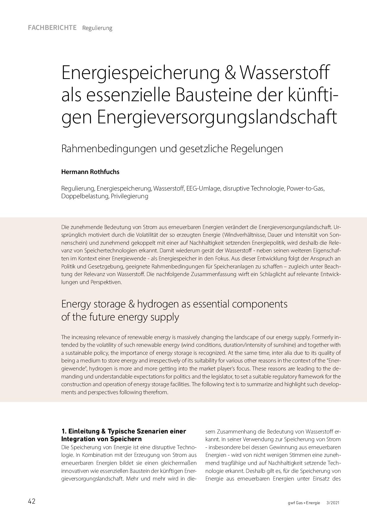 Energiespeicherung & Wasserstoff als essenzielle Bausteine der künftigen Energieversorgungslandschaft
