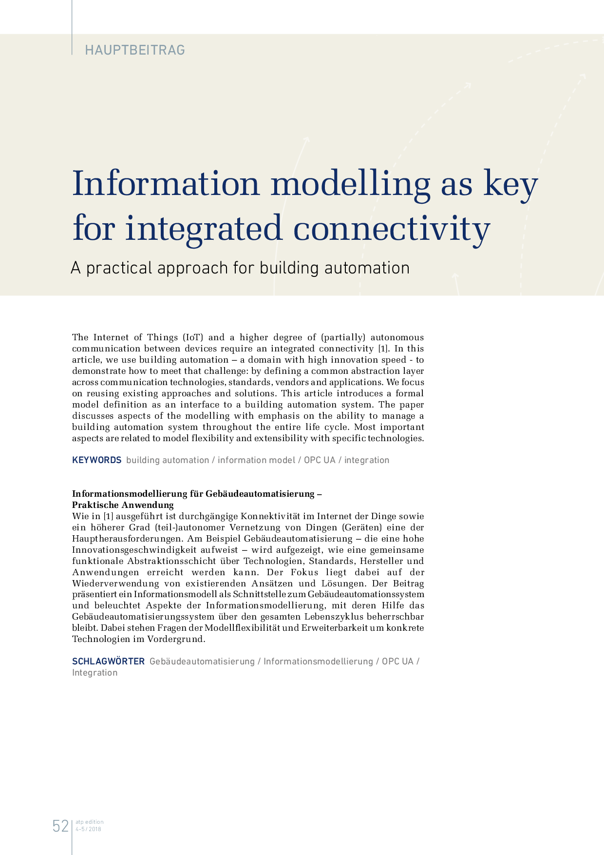 Information modelling as key for integrated connectivity