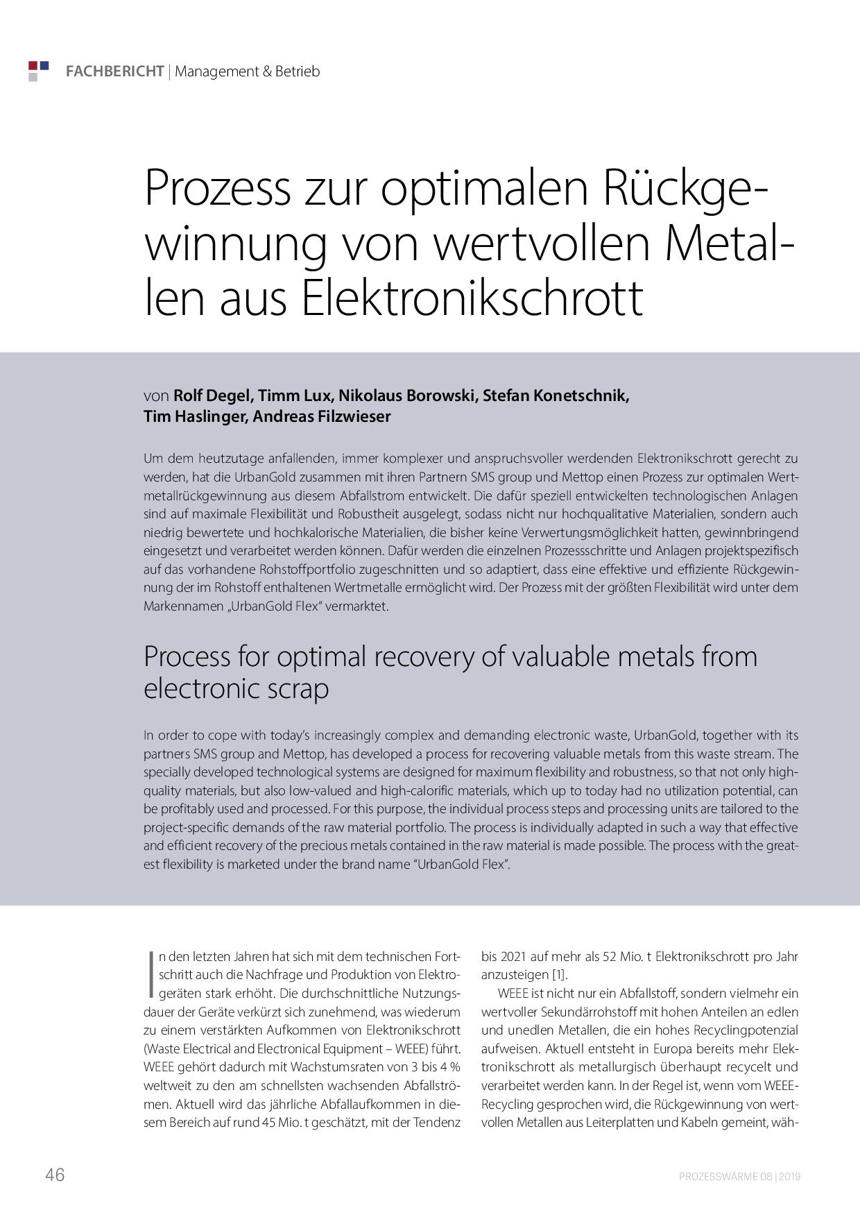 Prozess zur optimalen Rückgewinnung von wertvollen Metallen aus Elektronikschrott