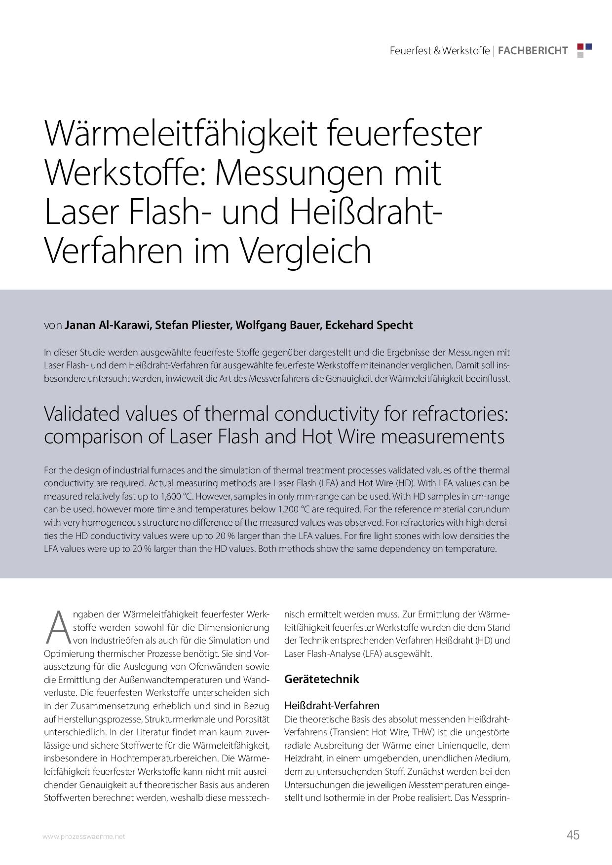 Wärmeleitfähigkeit feuerfester Werkstoffe: Messungen mit Laser Flash- und Heißdraht-Verfahren im Vergleich