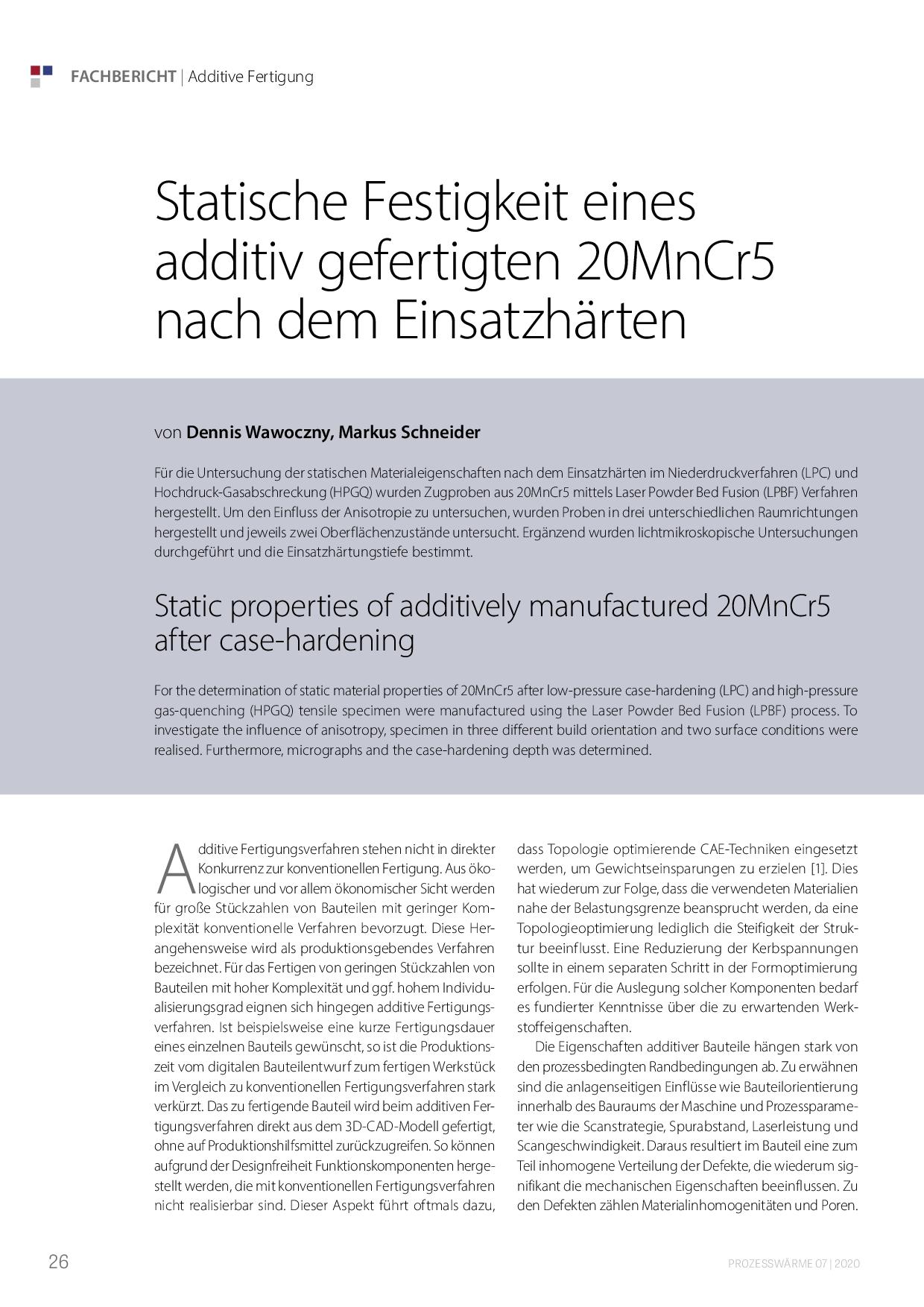 Statische Festigkeit eines additiv gefertigten 20MnCr5 nach dem Einsatzhärten