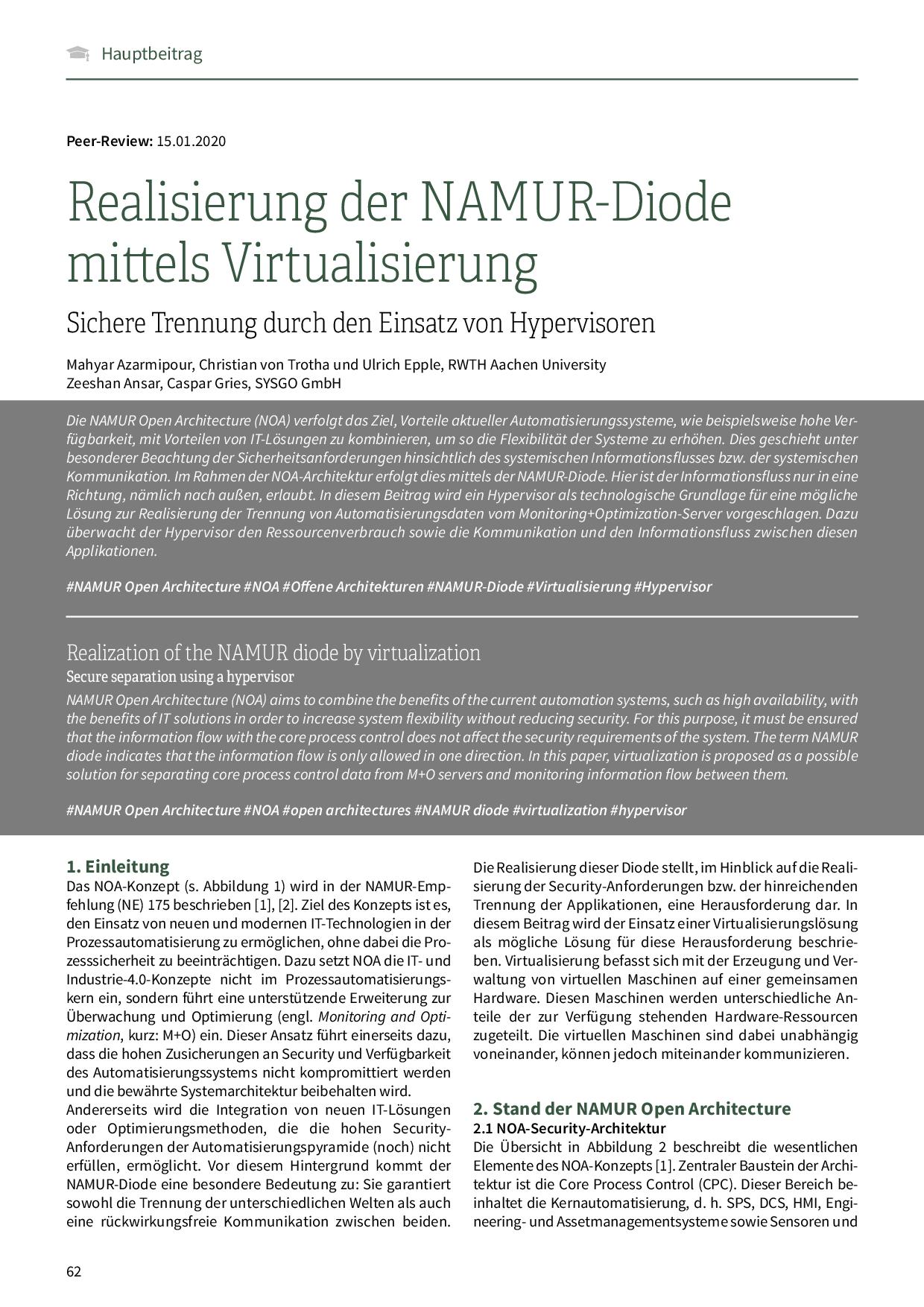 Realisierung der NAMUR-Diode mittels Virtualisierung