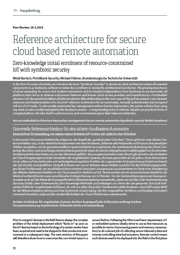 Universelle Referenzarchitektur für eine sichere cloudbasierte Automation – Kenntnisfreie Erstanmeldung von ressourcenbeschränkten IoT-Geräten mit symbiotischer Sicherheit