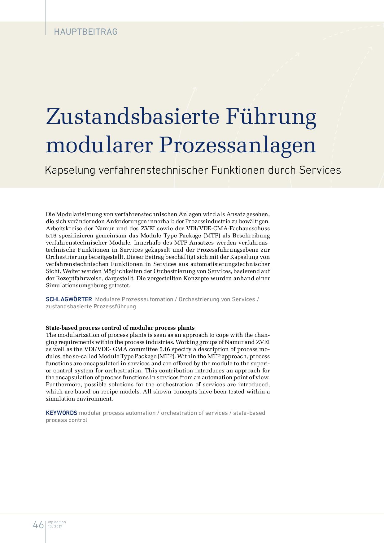 Zustandsbasierte Führung modularer Prozessanlagen
