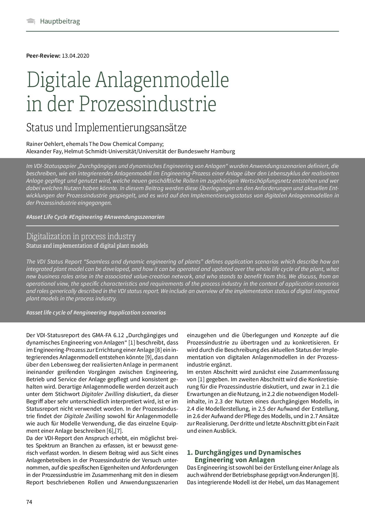Digitale Anlagenmodelle in der Prozessindustrie