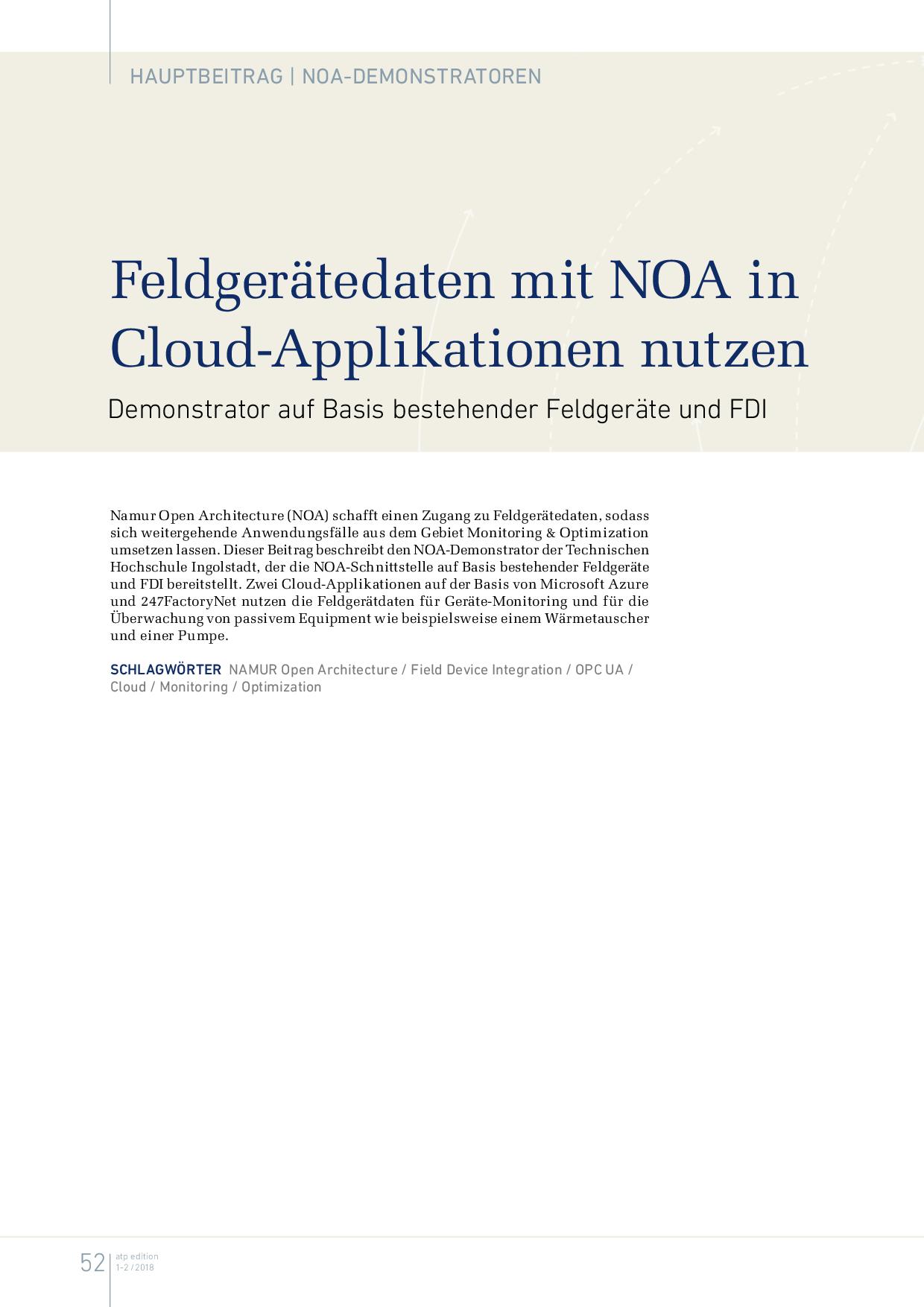 Feldgerätedaten mit NOA in Cloud-Applikationen nutzen