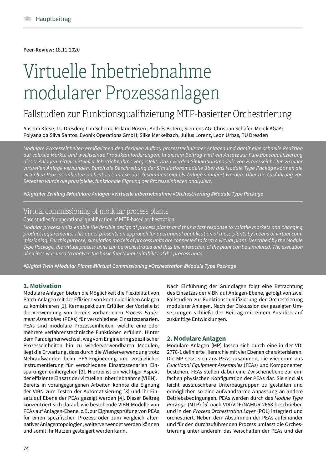 Virtuelle Inbetriebnahme modularer Prozessanlagen