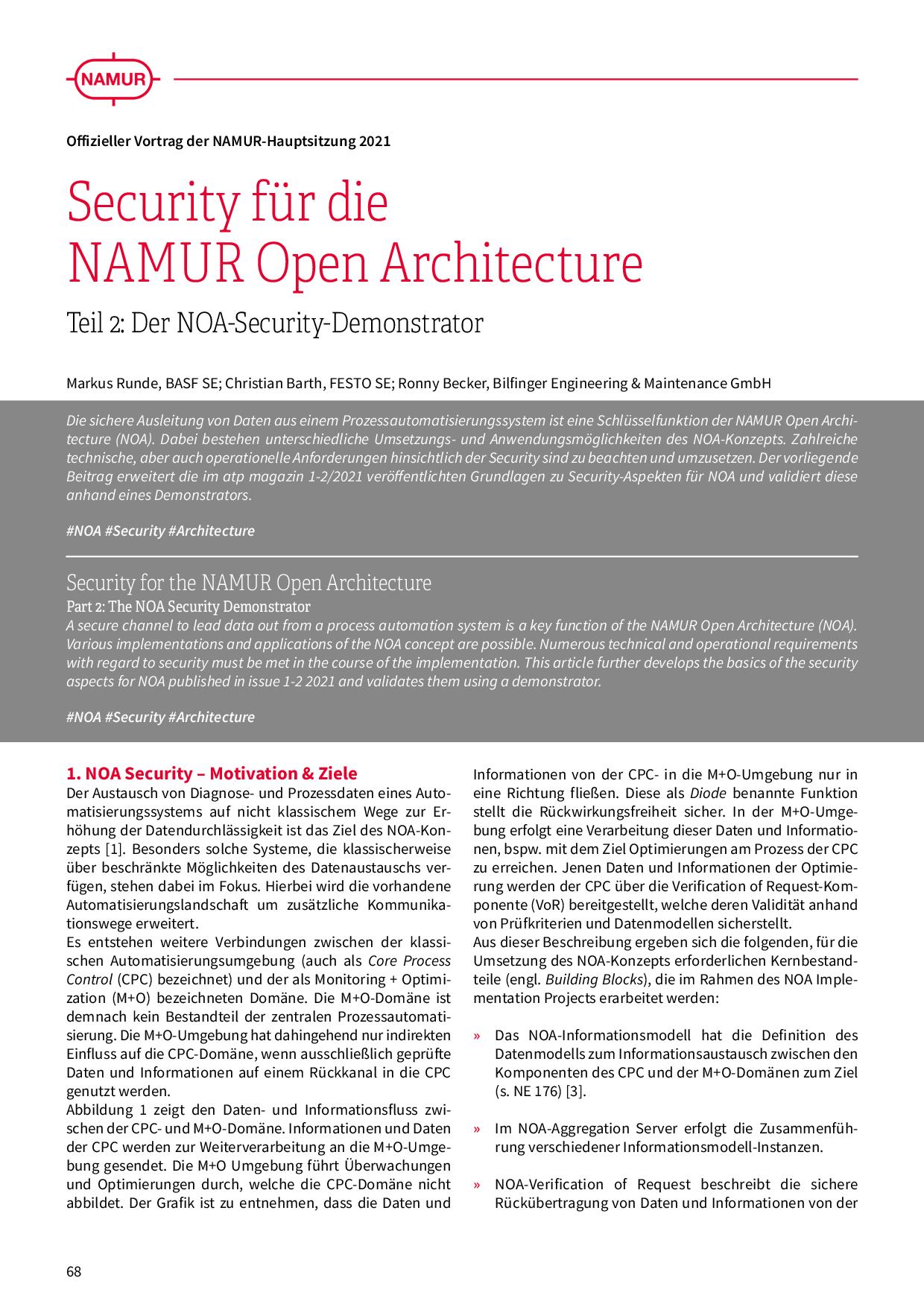 Security für die NAMUR Open Architecture
