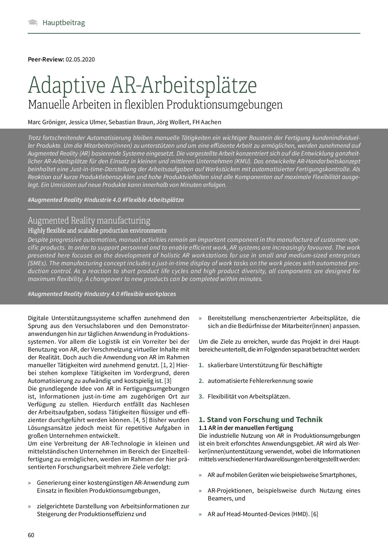 Adaptive AR-Arbeitsplätze