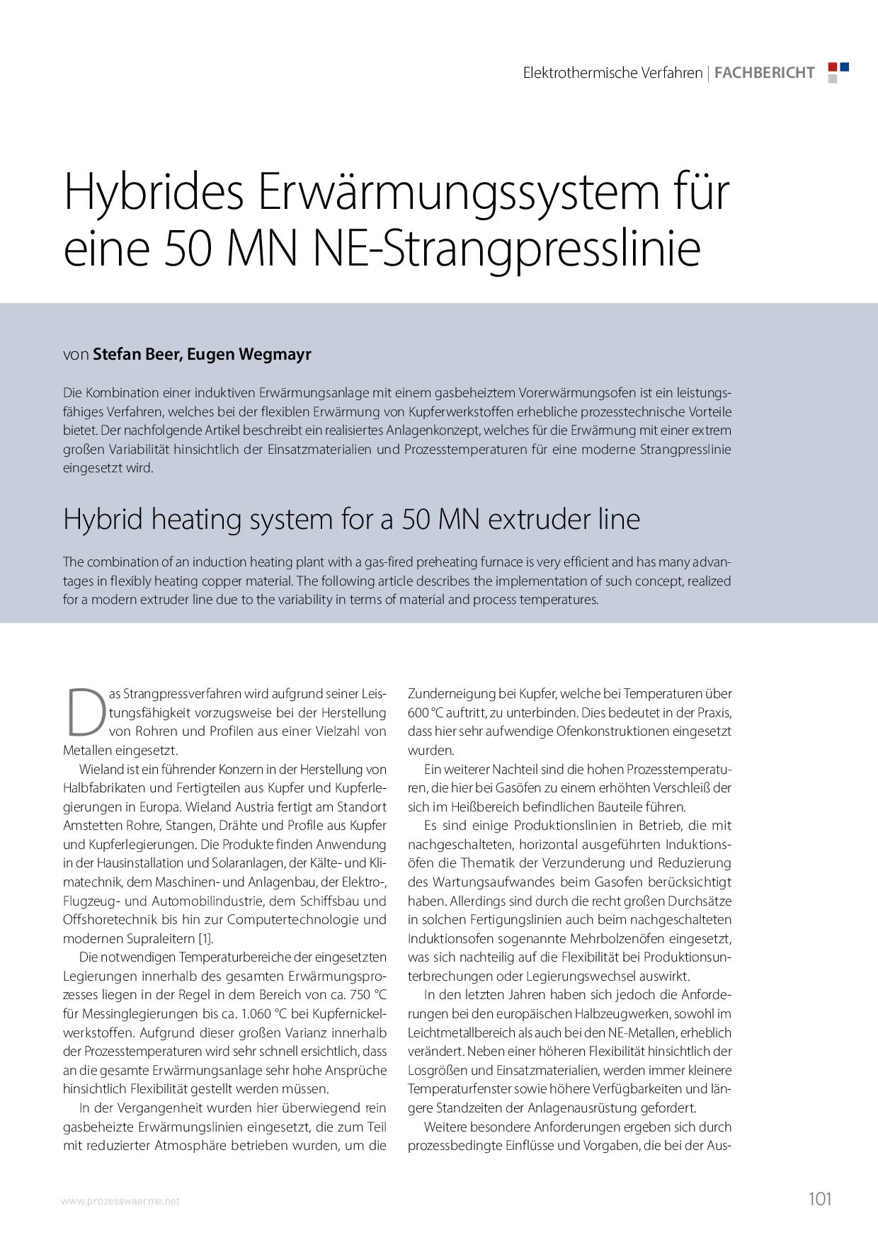Hybrides Erwärmungssystem für eine 50 MN NE-Strangpresslinie