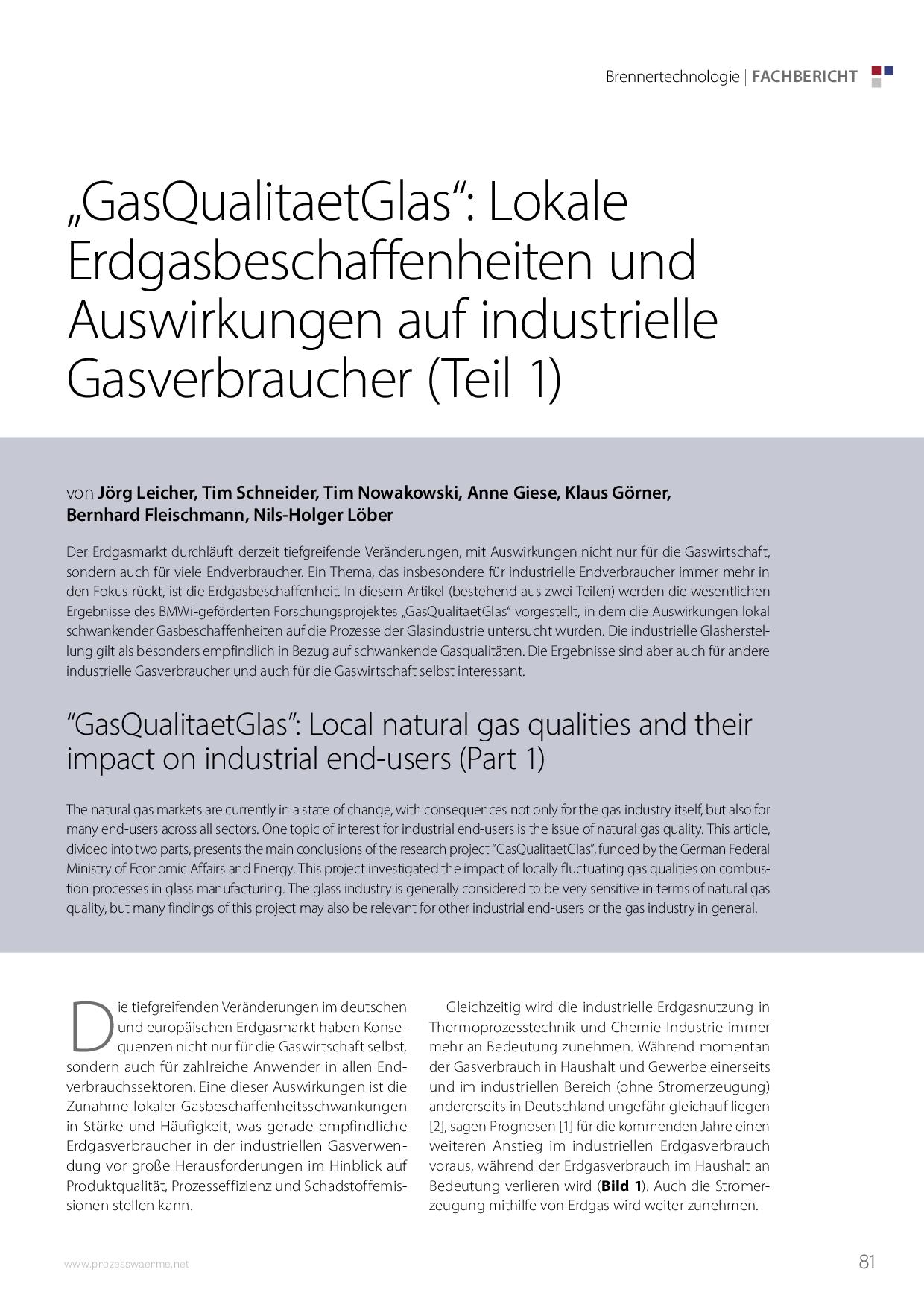 """""""GasQualitaetGlas"""": Lokale Erdgasbeschaffenheiten und Auswirkungen auf industrielle Gasverbraucher (Teil 1)"""