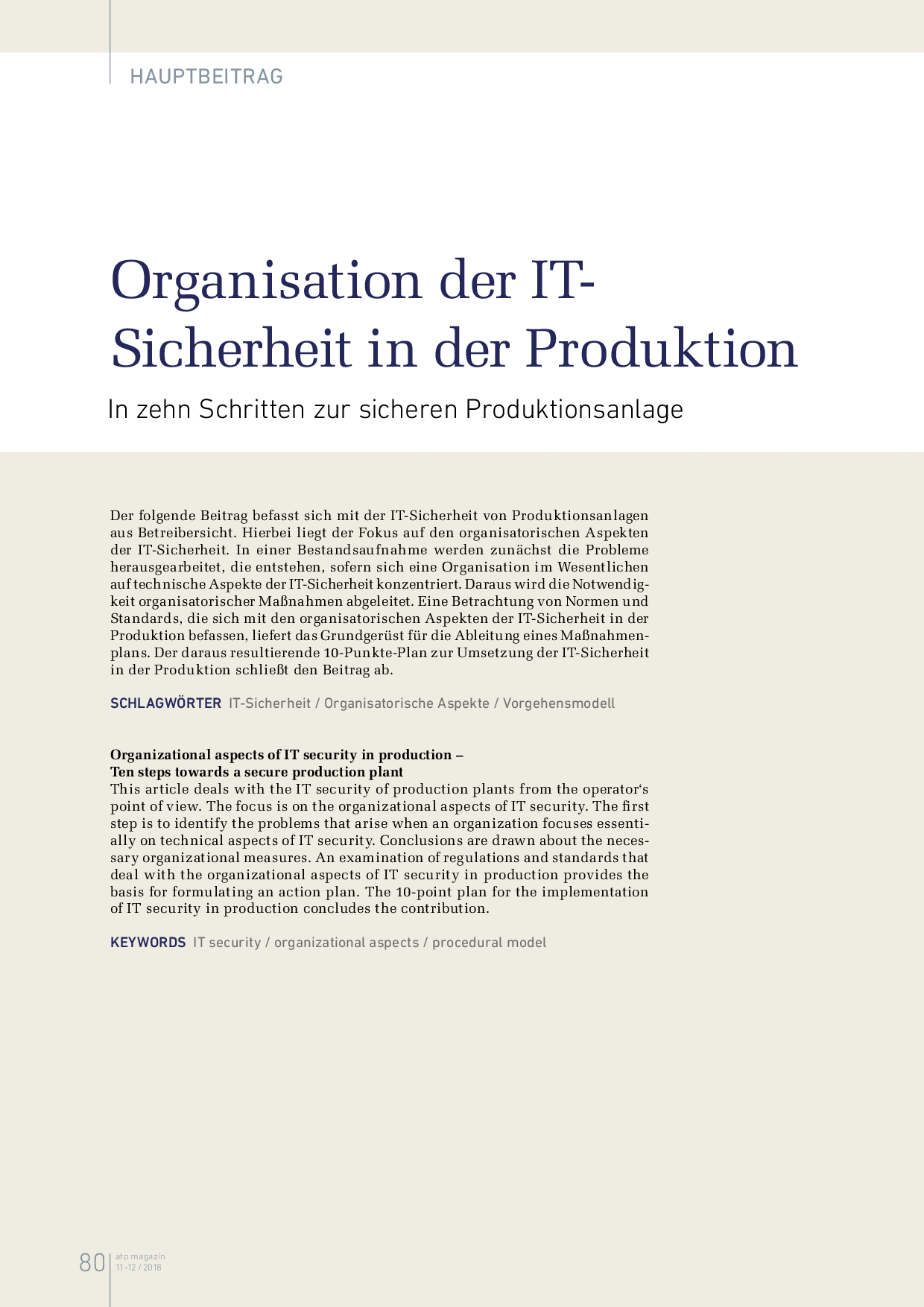 Organisation der IT-Sicherheit in der Produktion