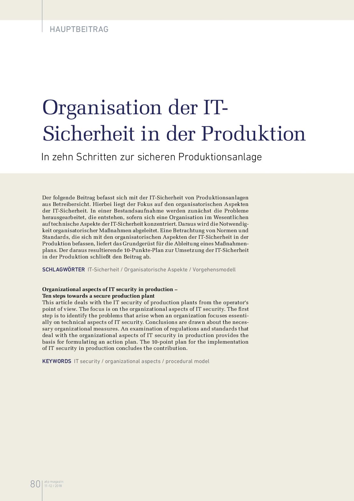 Organisation der IT-Sicherheit in der Produktion